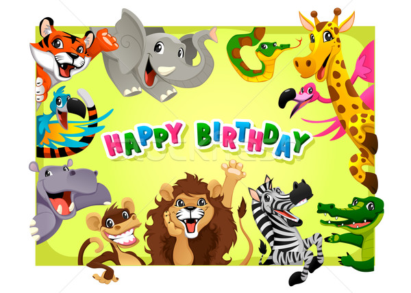 Happy Birthday card with Jungle animals Stock photo © ddraw