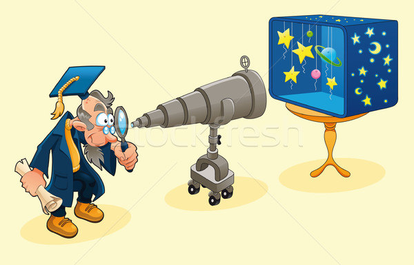 Scientist with telescope.  Stock photo © ddraw