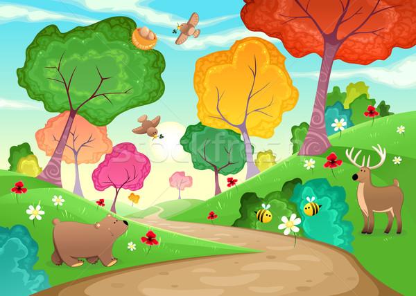 家族 動物 木材 漫画 空 花 ストックフォト © ddraw