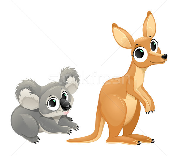Funny marsupials, koala and kangaroo Stock photo © ddraw