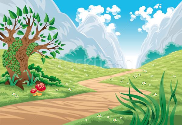 Montanha paisagem desenho animado céu flor folha Foto stock © ddraw