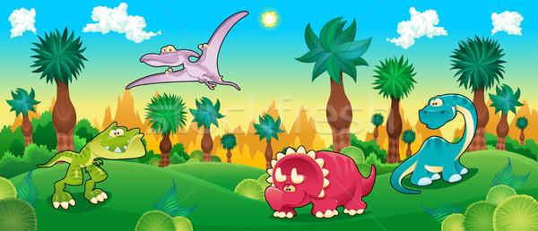зеленый лес Динозавры вектора Cartoon иллюстрация Сток-фото © ddraw