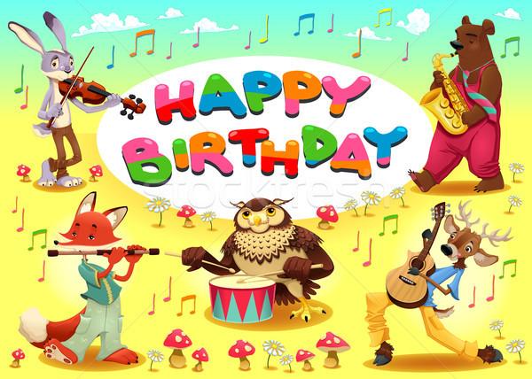 Gelukkige verjaardag kaart muzikant dieren cartoon frame Stockfoto © ddraw
