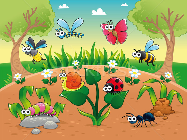 Bugs + 1 snail with background. Stock photo © ddraw