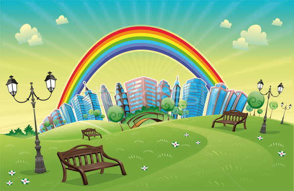 Park with rainbow.  Stock photo © ddraw