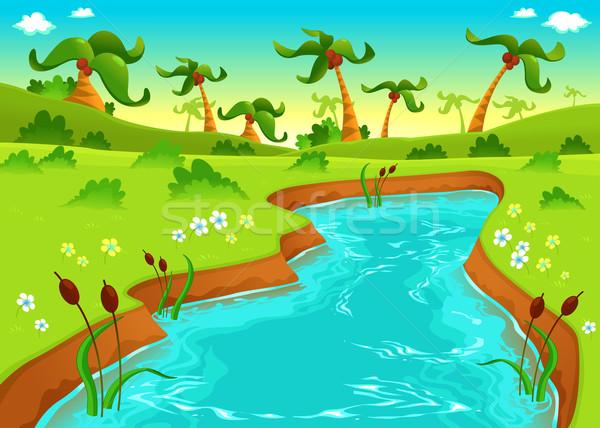 Jungle vijver cartoon water boom landschap Stockfoto © ddraw