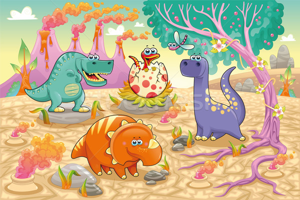 Group of funny dinosaurs in a prehistoric landscape.  Stock photo © ddraw