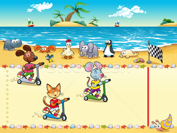 конкуренция пляж Cartoon дерево улыбка Сток-фото © ddraw