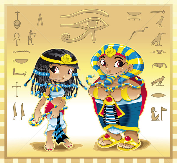 Pharaoh and Cleopatra with background. Stock photo © ddraw