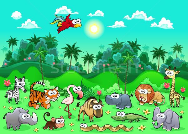 Stockfoto: Jungle · dieren · grappig · cartoon · herhalen · mogelijk