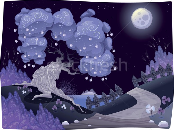 Bucolic nightly landscape on the sea. Stock photo © ddraw