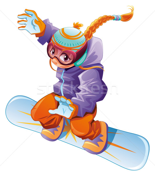 Young snowboarder girl. Stock photo © ddraw