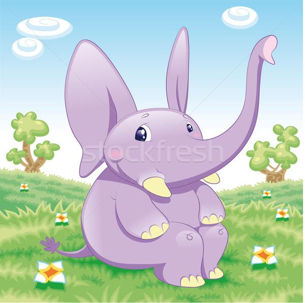 Baby olifant grappig cartoon hemel glimlach Stockfoto © ddraw