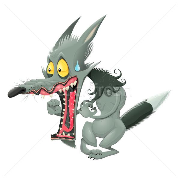 Grappig wolf vector cartoon geïsoleerd karakter Stockfoto © ddraw