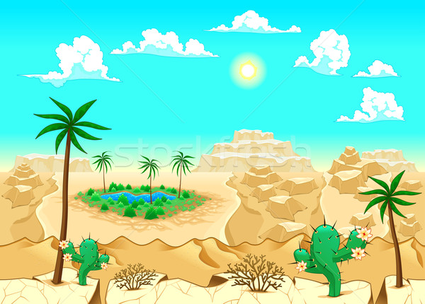 Desert with oasis.  Stock photo © ddraw
