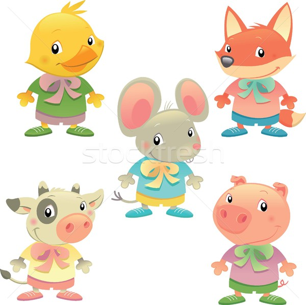 Cute dier familie vector geïsoleerd gekleurd Stockfoto © ddraw