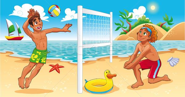 Praia vôlei cena engraçado desenho animado vetor Foto stock © ddraw
