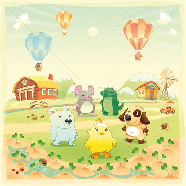 Stock photo: Baby farm animals in the countryside.