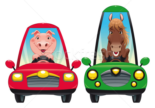 Animals in the car: Pig and Horse. Stock photo © ddraw