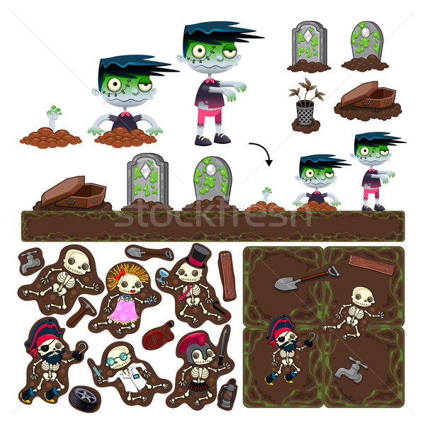 Set of game elements with zombie character, platforms and object Stock photo © ddraw