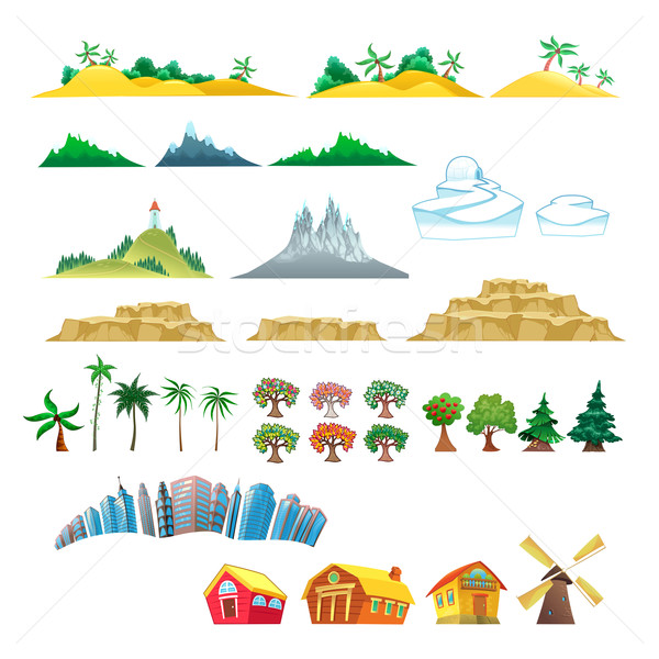 Set of trees, mountains, hills, islands and buildings. Stock photo © ddraw