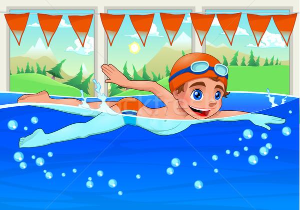 Открытка пловец