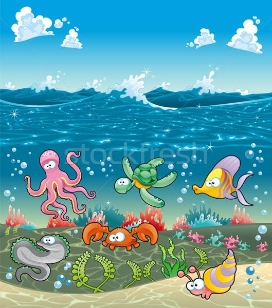Family of marine animals under the sea.  Stock photo © ddraw