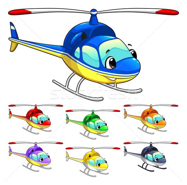 смешные вертолета Cartoon вектора изолированный характер Сток-фото © ddraw