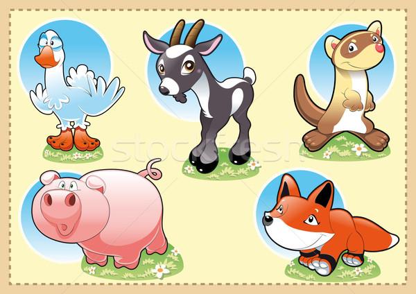 Boerderij baby dieren grappig cartoon hemel Stockfoto © ddraw