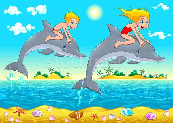 Boy, girl and dolphin in the sea. Stock photo © ddraw