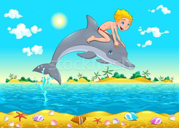 Menino golfinho mar desenho animado objetos isolados praia Foto stock © ddraw