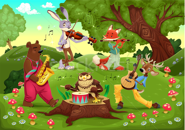 Musicians animals in the wood.  Stock photo © ddraw