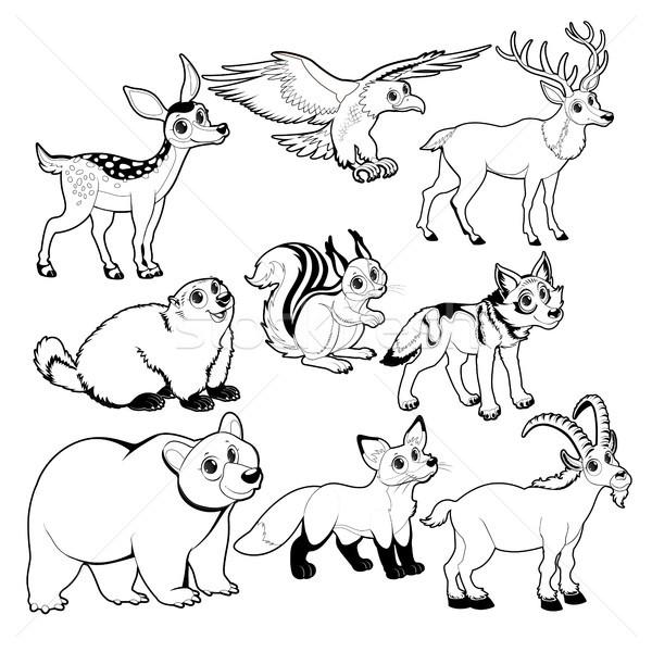 Hout berg dieren zwart wit vector geïsoleerd Stockfoto © ddraw