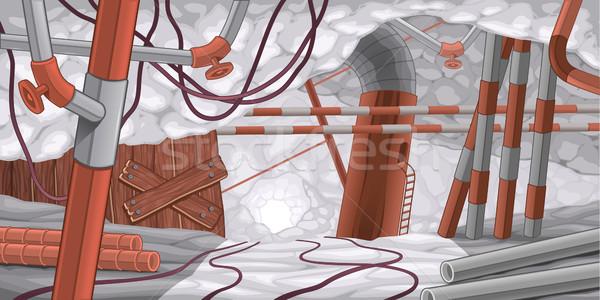 シーン パイプ ケーブル 地下 漫画 木材 ストックフォト © ddraw