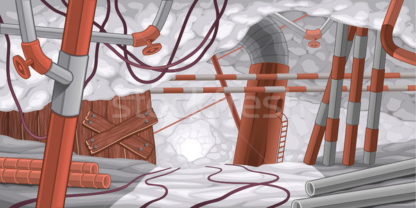 Scène pijpen kabels ondergrondse cartoon hout Stockfoto © ddraw