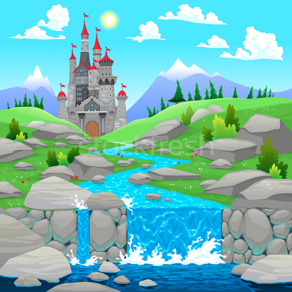 Mountain landscape with river and castle. Stock photo © ddraw
