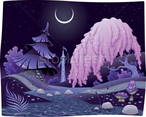 Fantasy nightly landscape on the riverside. Stock photo © ddraw
