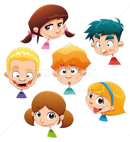 Ingesteld verschillend karakter uitdrukkingen grappig cartoon Stockfoto © ddraw