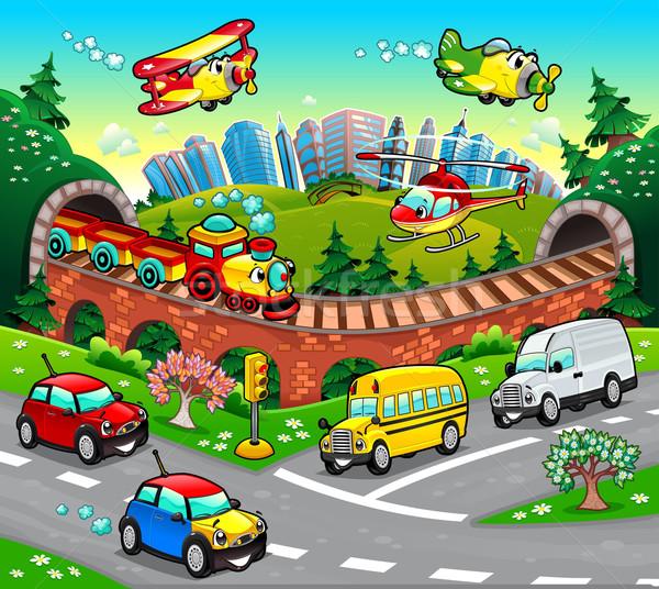 Grappig voertuigen stad cartoon bloem oog Stockfoto © ddraw