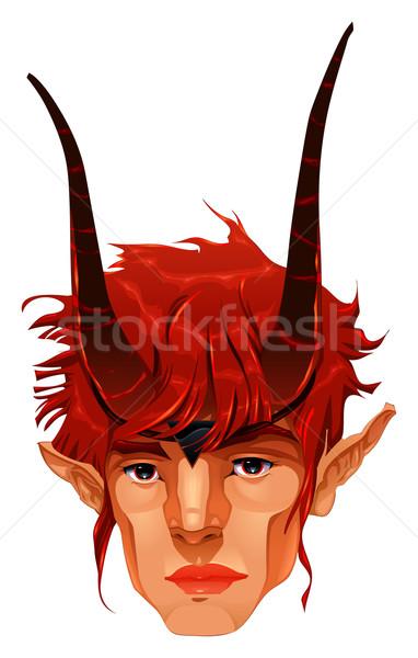 Mitológico demônio cabeça vetor isolado ilustração Foto stock © ddraw