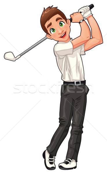 Golfozó vektor rajz izolált sport karakter Stock fotó © ddraw
