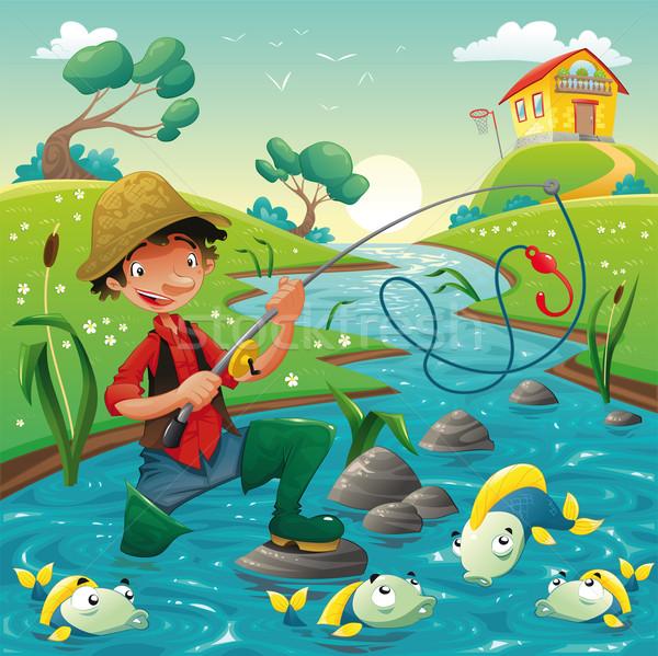 Cartoon scene with fisherman and fish. Stock photo © ddraw