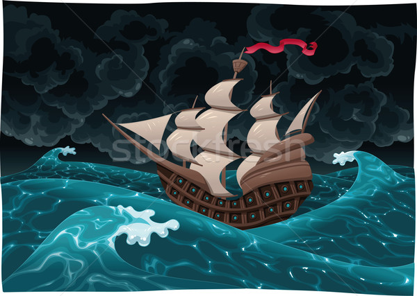 Galleon in the sea with storm.  Stock photo © ddraw