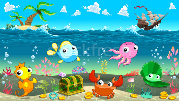 Funny scene under the sea Stock photo © ddraw