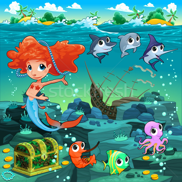Mermaid with funny animals on the sea floor Stock photo © ddraw