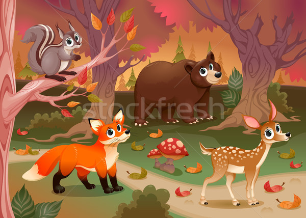 Grappig dieren hout cartoon familie glimlach Stockfoto © ddraw