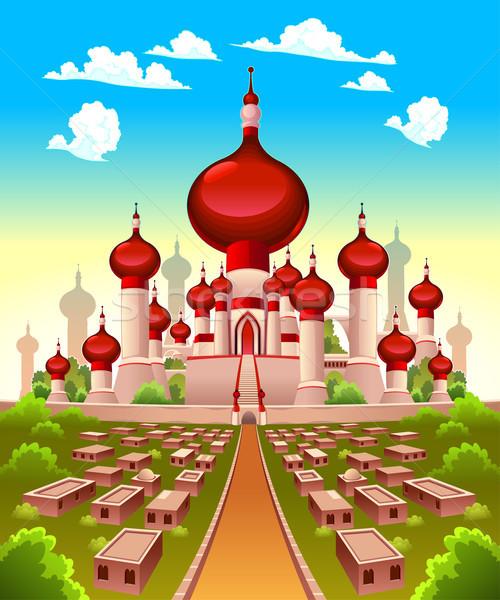 Krajobraz arabski zamek wektora cartoon ilustracja Zdjęcia stock © ddraw