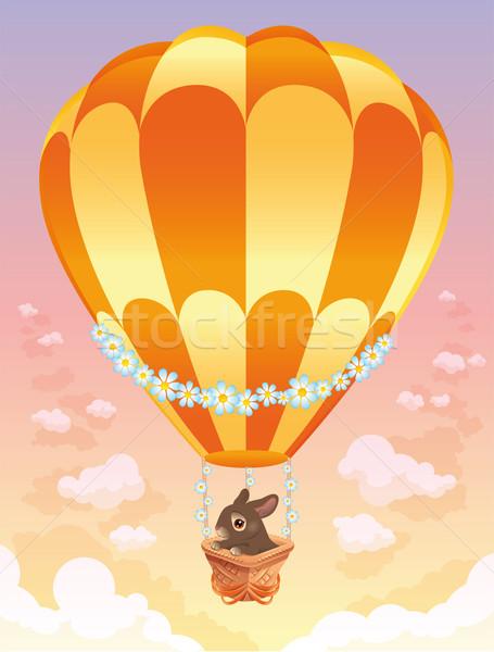 Balão de ar quente marrom coelho desenho animado páscoa primavera Foto stock © ddraw