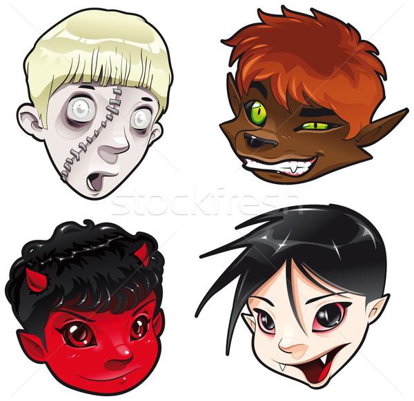зомби оборотень дьявол вампир Cartoon вектора Сток-фото © ddraw