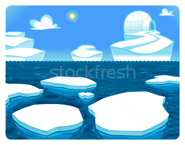 Polar escena vector Cartoon ilustración paisaje Foto stock © ddraw